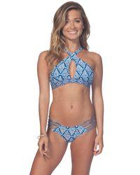 Rip Curl - Blue South Winds High Neck Bikini Top - Lyst