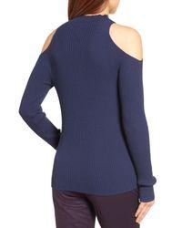 Halogen - Blue (r) Rib Knit Cold Shoulder Sweater (regular & Petite) - Lyst