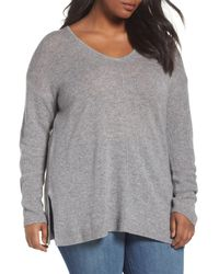 Sejour - Gray Easy V-neck Wool & Cashmere Pullover - Lyst