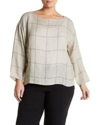 Eileen Fisher - Multicolor Windowpane Plaid Organic Linen Top (plus Size) - Lyst