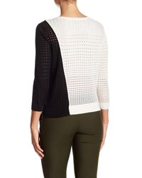 Magaschoni - Black Colorblock Silk Blend Pullover Sweater - Lyst
