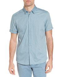 Ted Baker - Blue Narnar Trim Fit Geo Print Camp Shirt for Men - Lyst