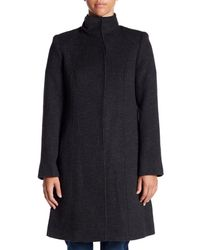 Fleurette - Blue Funnel Neck Wool Coat - Lyst