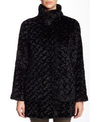 Eliza J - Black Spread Collar Faux Fur Jacket - Lyst