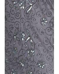 Pisarro Nights - Gray Illusion Neck Beaded Shift Dress - Lyst