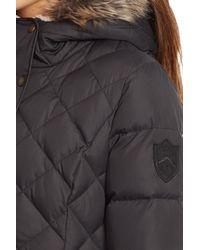 Lauren by Ralph Lauren - Black Faux Fur Trim Hooded Long Down & Feather Fill Coat - Lyst