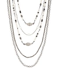 Lucky Brand - Metallic Beaded Statement Necklace - Lyst