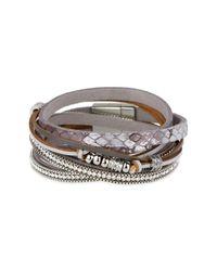 Saachi - Gray Grey Exotic Reptile Embossed Genuine Leather Bracelet - Lyst