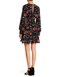Lush - Black Ruffled Floral Wrap Dress - Lyst