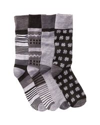 Lucky Brand - Black Colorblock Socks - Pack Of 4 for Men - Lyst