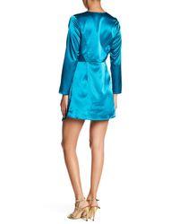 Haute Rogue Blue Twisted Bodice Satin Minidress