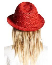 Helen Kaminski - Red Rollable Crochet Raffia Fedora - Lyst