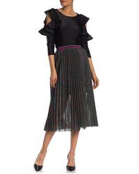 Gracia Black Multicolor Metallicized Stripe Skirt