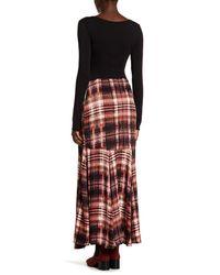 Free People | Black Front Belt Buckle Maxi Print Skirt | Lyst