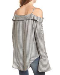 Mimi Chica - Black Flare Cuff Cold Shoulder Top - Lyst