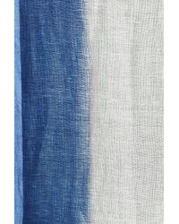 Caslon - Blue Ombre Haze Painted Linen Blend Scarf - Lyst