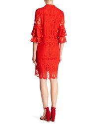 Sharagano - Red Off-the-shoulder Scalloped Hem Dress - Lyst