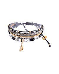 Mishky - Metallic Maya Multirow Leather, Chain, & Beaded Cuff Bracelet - Lyst