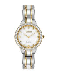 Citizen - Metallic Women's Eco Drive Two-tone Crystal Accent Bracelet Watch - Lyst