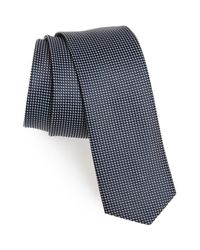 BOSS - Blue Geometric Silk Skinny Tie for Men - Lyst