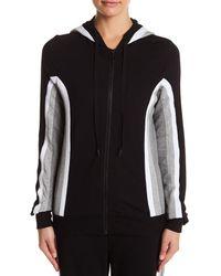 Trina Turk - Black Attached Hood Colorblock Jacket - Lyst