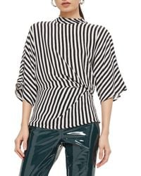 TOPSHOP - Black Stripe Tuck Detail Top - Lyst