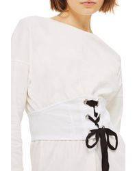 TOPSHOP - Natural Corset T-shirt Dress - Lyst