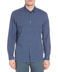 Ted Baker - Blue Holic Trim Fit Geometric Sport Shirt for Men - Lyst