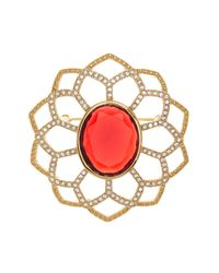Carolee | Red Large Openwork Flower Pin | Lyst