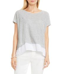 Two By Vince Camuto - Gray Chiffon High/low Hem Knit Tee - Lyst