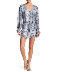 Haute Hippie - Blue V-neck Front Tie Print Dress - Lyst