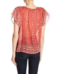 Joie - Red Arevig Print Silk Blend Top - Lyst