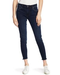 Kut From The Kloth - Blue Donna Frayed Hem Skinny Jeans - Lyst