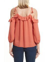Joie - Orange Eukene Silk Cold Shoulder Top - Lyst