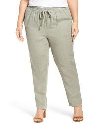 Caslon - Green Linen Drawstring Pants (plus Size) - Lyst