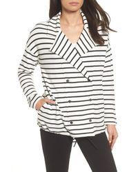Caslon - Black Stripe Knit Drawsting Jacket - Lyst