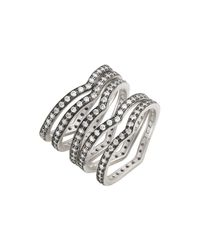 Freida Rothman - Metallic Rhodium Plated Sterling Silver Contemporary Deco Stacking Rings - Set Of 5 - Size 7 - Lyst