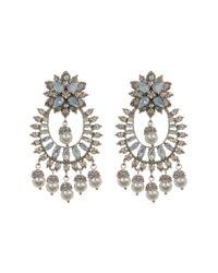 Marchesa - Metallic Crystal & Imitation Pearl Drama Chandelier Earrings - Lyst