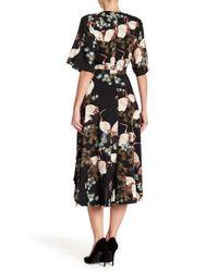 Haute Rogue - Black Print Wrap Midi Dress - Lyst