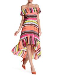 Charles Henry | Multicolor Ruffle Off-the-shoulder High-lo Dress | Lyst