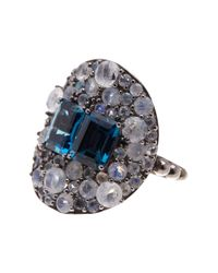 Stephen Dweck | Metallic Sterling Silver Blue Topaz & Pave Moonstone Statement Ring - Size 7 | Lyst