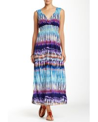 Sienna Rose - Blue Embroidered Smocked Maxi Dress - Lyst