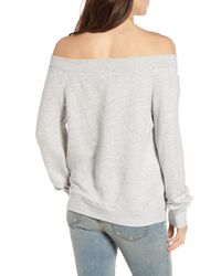 Treasure & Bond - Gray Off The Shoulder Sweatshirt - Lyst