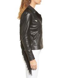 Trouvé - Black Trouv? Fringe Moto Leather Jacket - Lyst