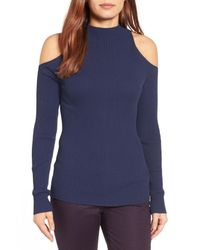 Halogen | Blue (r) Rib Knit Cold Shoulder Sweater (regular & Petite) | Lyst