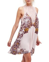 Free People - Pink Marsha Crochet Lace Floral Slip Dress - Lyst