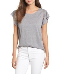 Caslon - Gray (r) Flutter Sleeve Crochet Detail Top (regular & Petite) - Lyst