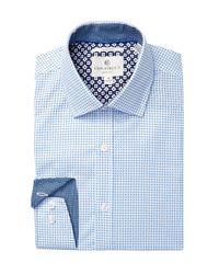 Con.struct - Blue Small Windowpane Slim Fit Dress Shirt for Men - Lyst