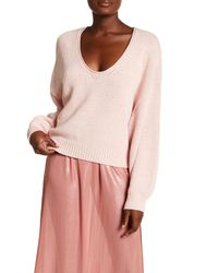 Free People - Pink Perfect Day V-neck Knit Pullover - Lyst