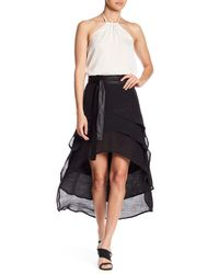 FAVLUX - Black Layered Skirt With Faux Leather Belt - Lyst